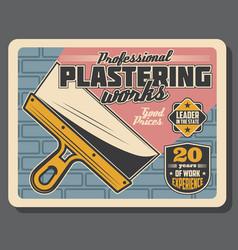 Plastering work service or home repair shop poster vector