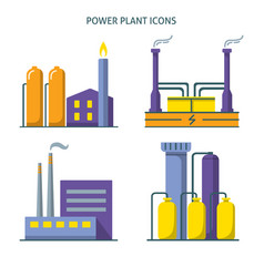 Power plant icons set in flat style vector