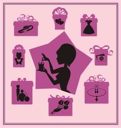 Present purple vector image