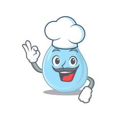Raindrop chef cartoon design wearing white hat vector