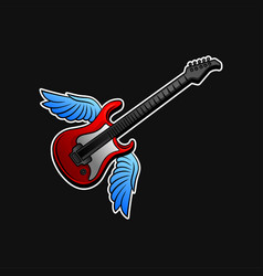 red electric guitar with blue wings rock n roll vector image