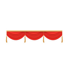 Red theater stage curtain valance with three folds vector