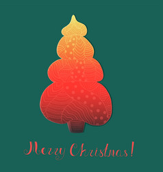 Roundish christmas tree with pattern and lettering vector