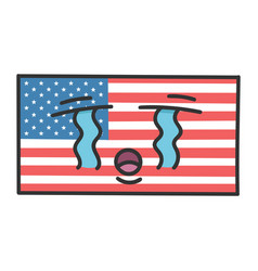 Sad american flag cartoon vector