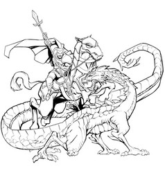 Saint george slaying the dragon line art vector