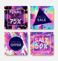 sale coupon design template in 1980s style retro vector image