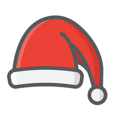 santa hat filled outline icon new year christmas vector image