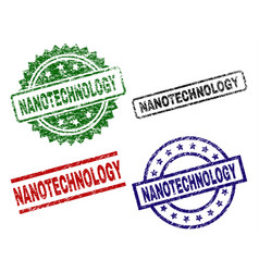 Scratched textured nanotechnology seal stamps vector
