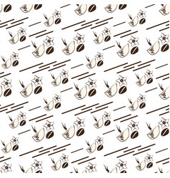 seamless coffee pattern on a light background vector image