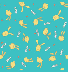 Seamless cyan pattern with cute rabbits vector