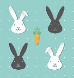 seamless pattern with cute black and white rabbits vector image