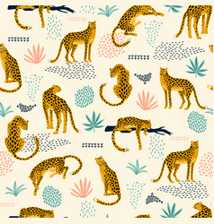 seamless pattern with leopards and abstract vector image