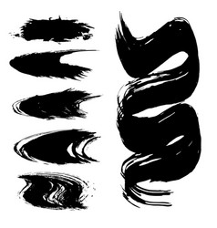 set brush strokes vector image
