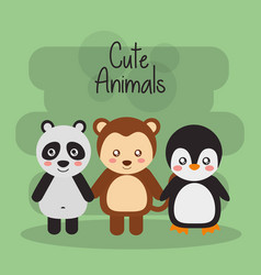 set cute animals panda monkey vector image