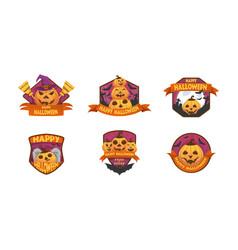 set of cartoon style happy halloween labels vector image