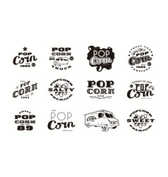 set of emblems and logo for popcorn packaging vector image