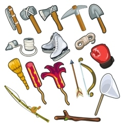 Set of metallurgical and textile industries item vector image