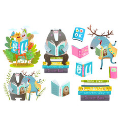 smart animals reading books set vector image