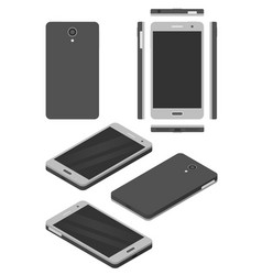 Smartphone mock-up isometric and flat design vector