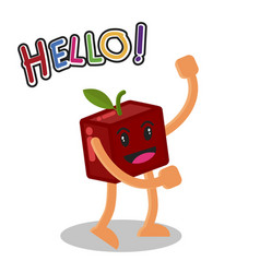 smiling apple fruit cartoon mascot character vector image