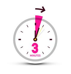 three 3 minutes clock icon with arrow vector image