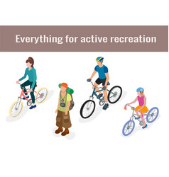 tourist and cyclists in isometric 3d vector image