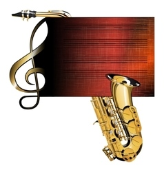 treble clef stave saxophone vector image