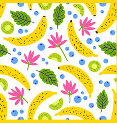 tropical seamless pattern with fresh exotic fruits vector image