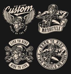 Vintage motorcycle designs collection vector