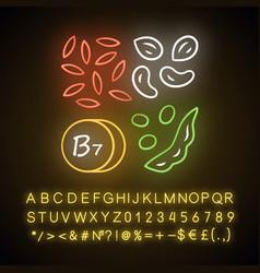 Vitamin b7 neon light icon almonds and peanuts vector