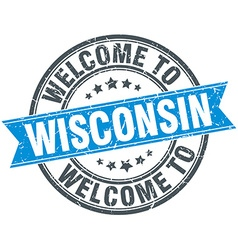 Welcome to wisconsin blue round vintage stamp vector