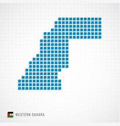 Western sahara map and flag icon vector