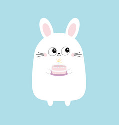 white bunny rabbit holding cake with candle funny vector image