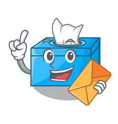 With envelope cartoon tissue box in the restaurant vector