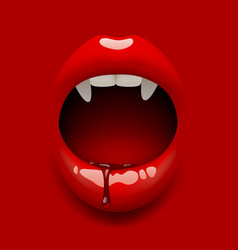 womans vampire open mouth with glossy sexy lips vector image