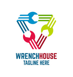 wrench house logo vector image