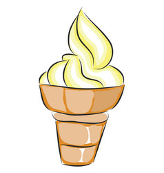 yellow and white ice cream in a cone on white vector image