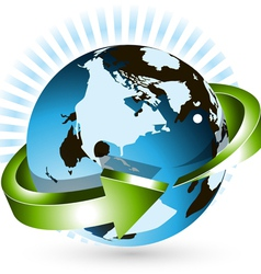 globe with arrow vector image vector image