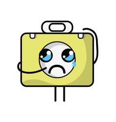 Kawaii cute crying briefcase and medical kit vector
