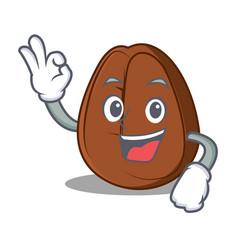 okay coffee bean character cartoon vector image