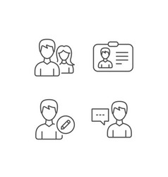 Male and female edit profile and id card icons vector