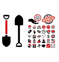Shovel Flat Icon with Bonus vector image vector image