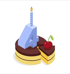 4 years birthday cake isometrics Number four with vector image