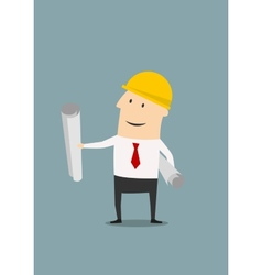 Engineer in helmet with plans and blueprints vector image vector image