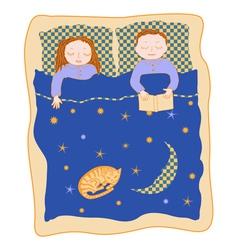 family bed cartoon vector image