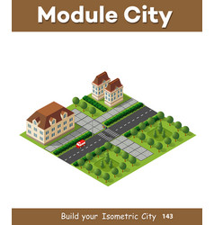 isometric retro 3d urban module of the city for vector image