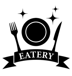 kitchen ware on black eatery symbol vector image vector image