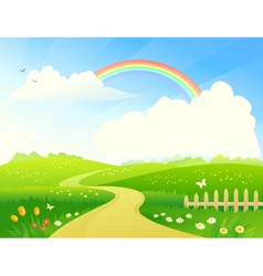 Landscape with rainbow vector image vector image