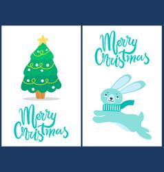 merry christmas rabbit tree vector image vector image