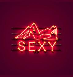 Neon sexy girl signboard vector